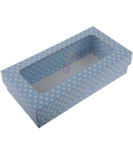 Lüks Mavi Puantiyeli Kutu,10x20x5cm,Adet
