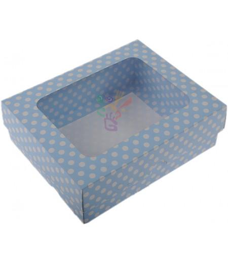 Lüks Mavi Puantiyeli Kutu,12x15x5cm,Adet