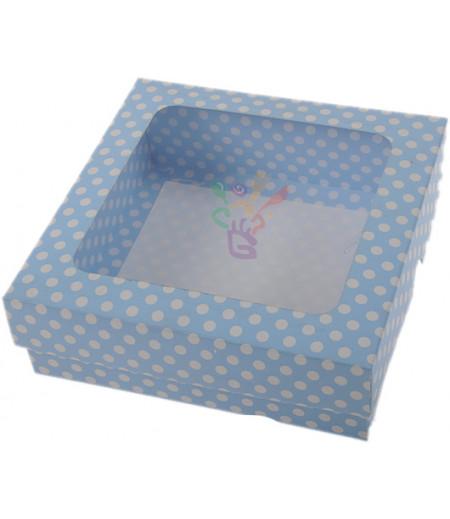 Lüks Mavi Puantiyeli Kutu,15x15x5cm,Adet