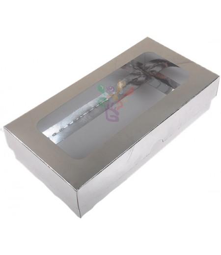 Lüks Gümüş Renk Kutu,10x20x5cm,Adet
