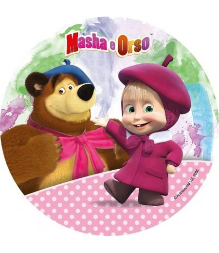Masha And The Bear Yuvarlak Şeker Hamuru Kağıdı ile Baskı