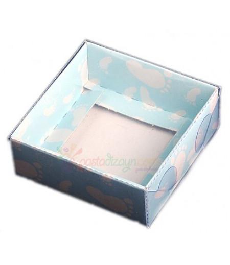 Mavi Bebek Ayağı Desenli Asetat Kutular,8x8x3cm,5 Adet