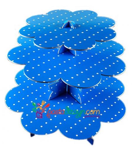 Mavi Beyaz Puantiyeli Kek Standı