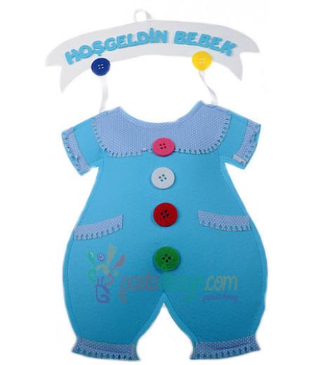 Mavi Keçe Bebek Tulumu Kapı Süsü