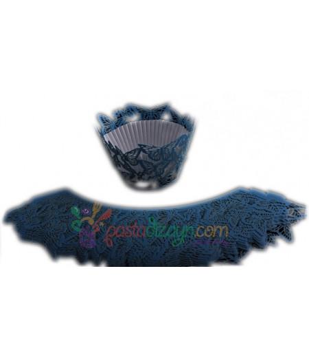 Mavi Kelebekler Muffin Kenar Dantel,10 Adet