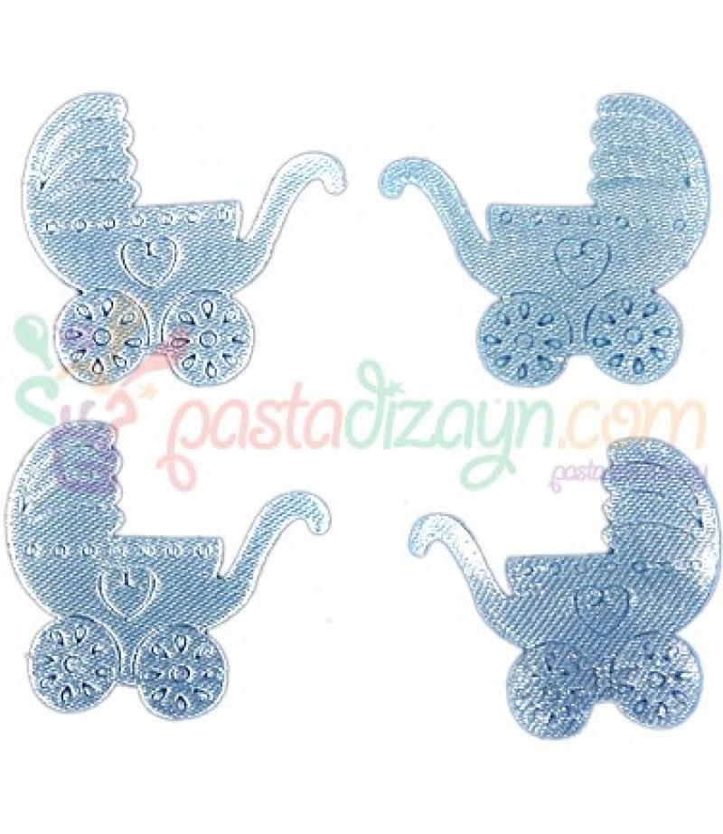 Mavi Küçük Bebek Arabası Süslemeleri