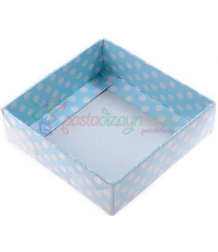 Mavi Puantiyeli Asetat Kutular,9x9x3cm,5 Adet