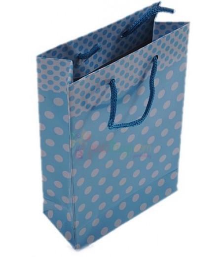 Mavi Puantiyeli Karton Çanta,11x17cm