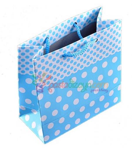 Mavi Puantiyeli Karton Çanta,8 Adet