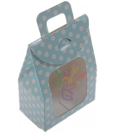 Mavi Puantiyeli,Saplı Çantalar,7x11,5 Adet