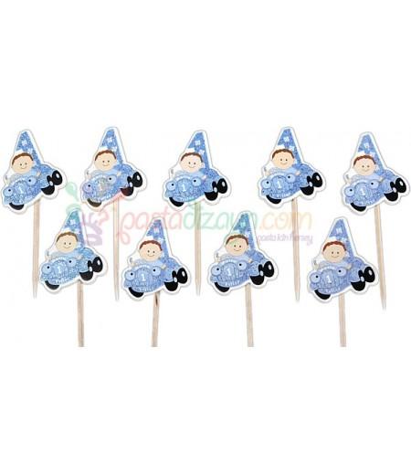 Mavi Renk Arabalı Bebek Kürdanlar,10 Adet