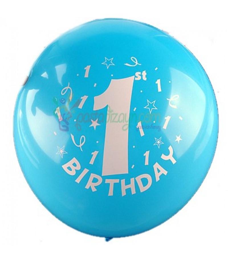 1 Yaş Mavi Renk Balon Seti,12 Adet