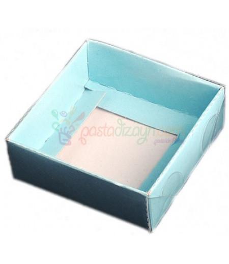 Mavi Renk Asetat Kutular,8x8x3cm,5 Adet
