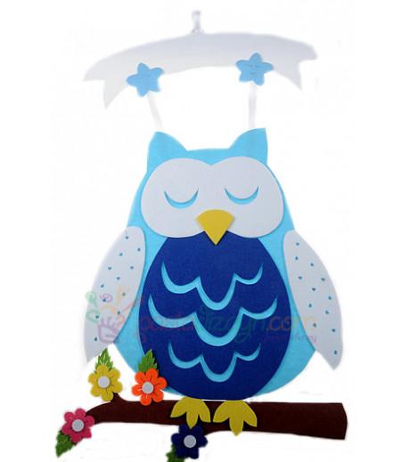Mavi Renk Baykuş Keçe Kapı Süsü