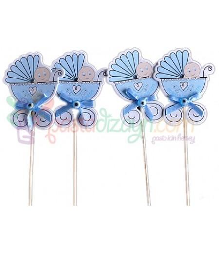 Mavi Renk Bebek Arabası Sunum Çubukları,6 adet