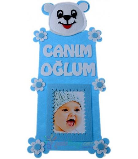 Mavi Renk Erkek Bebek Fotograf Çerçeve