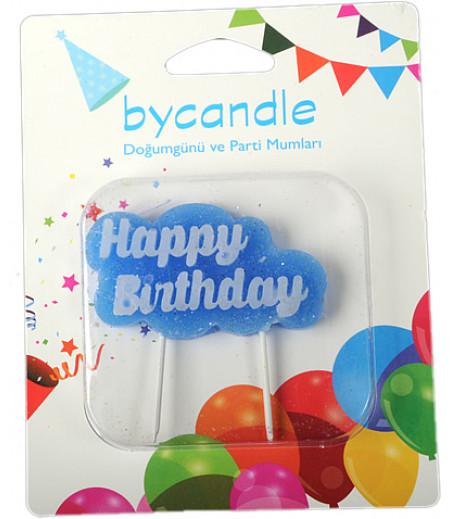 Mavi Renk Happy Birthday Yazılı Mum