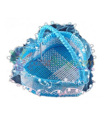 Mavi Renk Kalpli Hasır Sepet,Küçük Boy