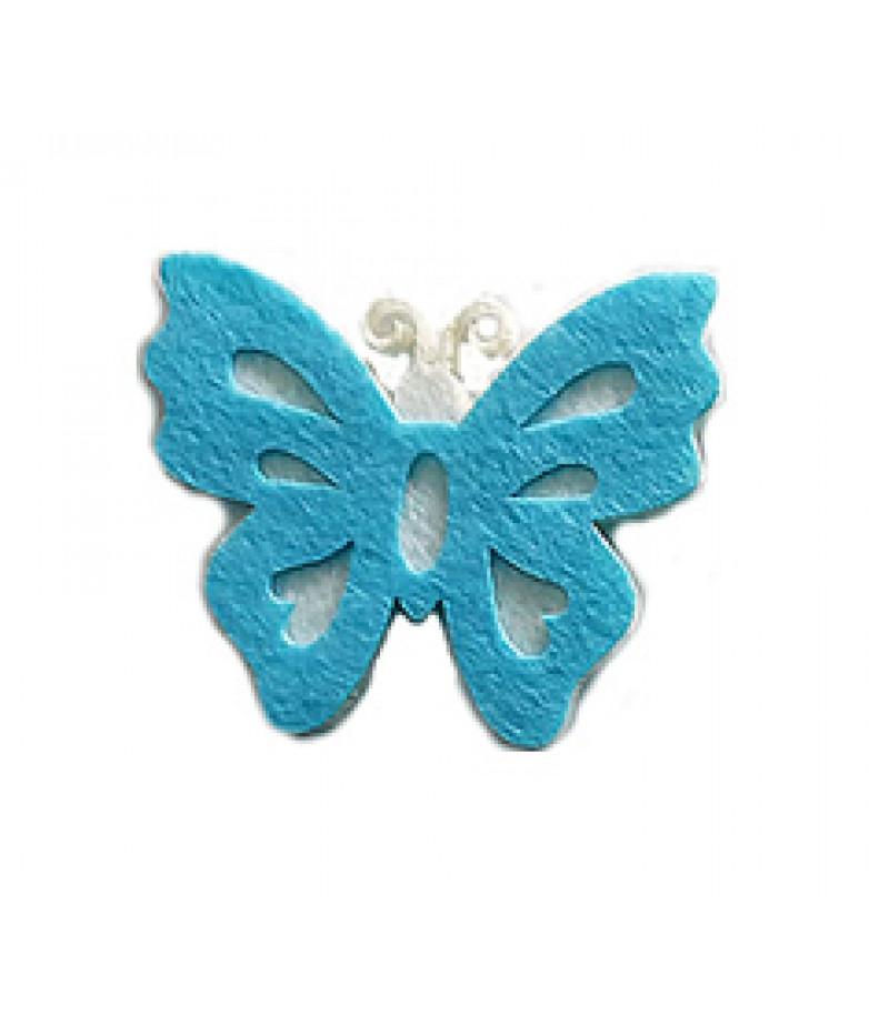 Mavi Renk Kelebek Dekor Keçeler,10 Adet