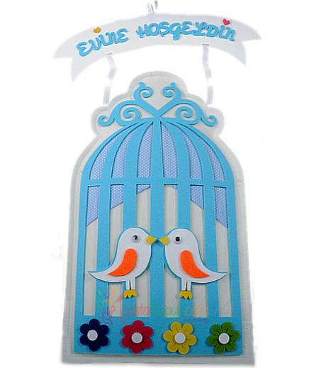 Mavi Renk Kuş Kafesi Şeklinde Kapı Süsü