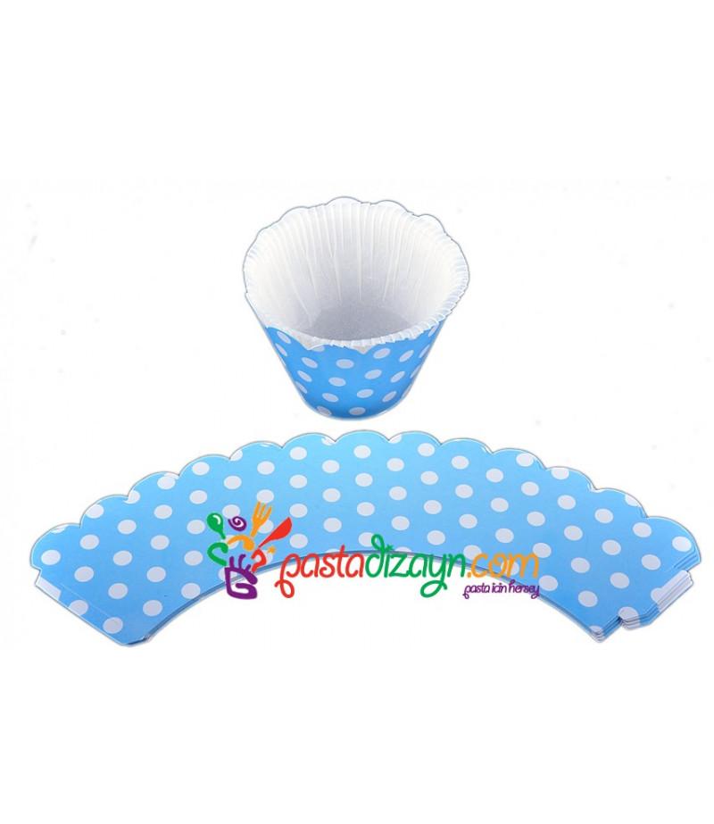 Mavi Renk Muffin Kenar Dantelleri