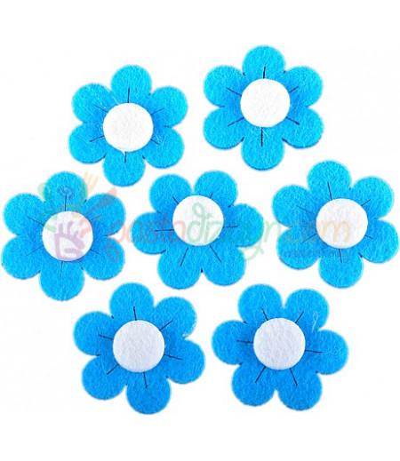 Mavi Renk Papatya Dekor Keçeler