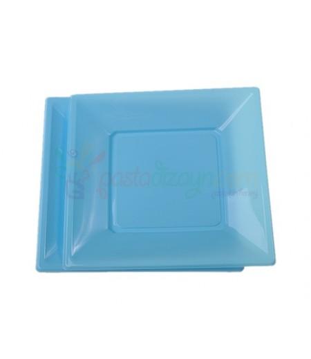 Mavi Renk Plastik Kare Küçük Tabaklar,8 adet