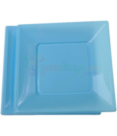 Mavi Renk Plastik Kare Tabaklar,8 adet
