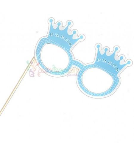 Mavi Renk,Kral Tacı Temalı Karton Gözlük
