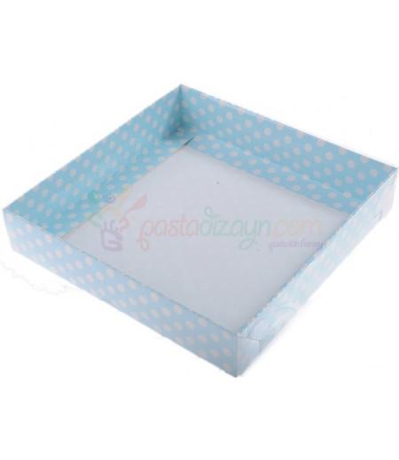 Mavi Renk Puantiyeli Asetat Kutular,20x20x5cm,Adet