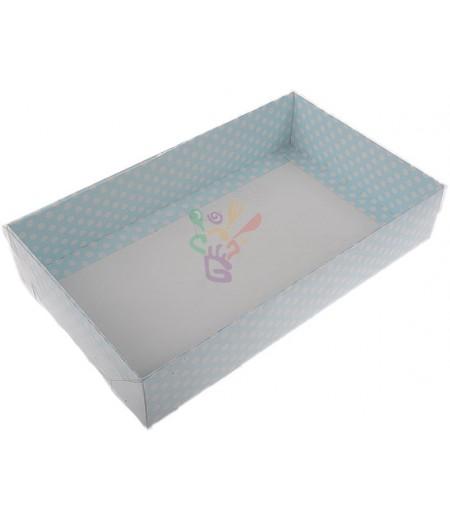 Mavi Renk Puantiyeli Asetat Kutular,15x25x5cm,Adet