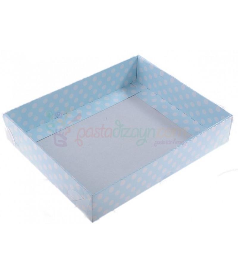 Mavi Renk Puantiyeli Asetat Kutular,12x15cm