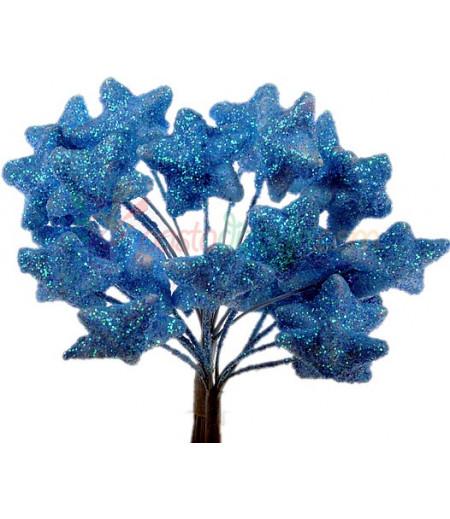 Mavi Renk Simli,Yıldızlı Süsleme Cicekleri