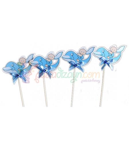 Mavi Renk Yunus Sunum Çubukları,6 adet
