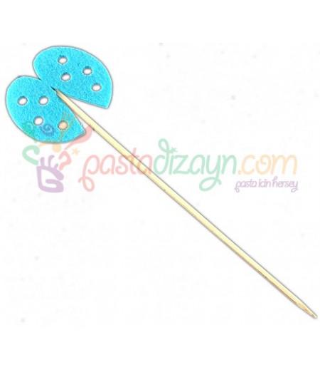 Mavi Uğur Böcekli Sunum Çubukları,12 Adet
