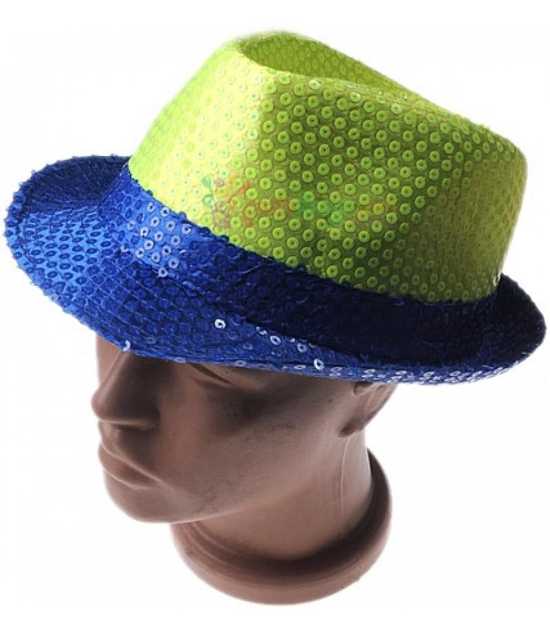 Parti İçin Fosforlu Mavi,Yeşil Şapka