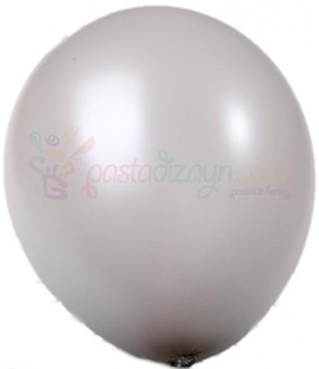 Beyaz Renk Metalik Balonlar,12 Adet
