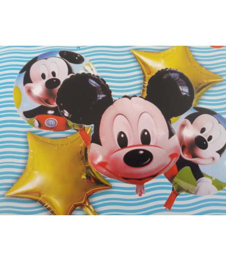 Mickey Mouse Altın Yıldız Desenli 5 Li Balon Seti  Siyah