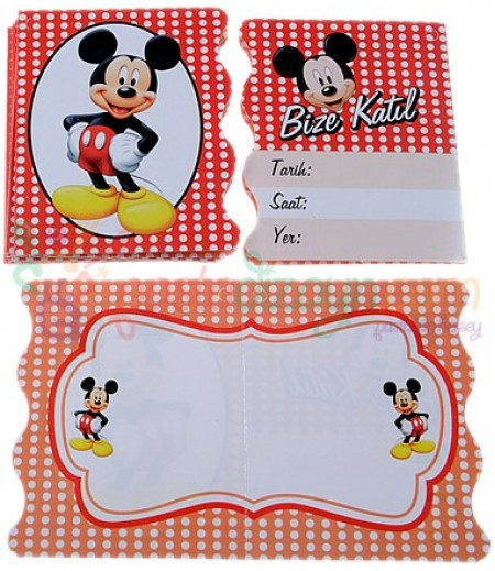 Mickey Mouse Temalı Davetiyeler,10 Adet