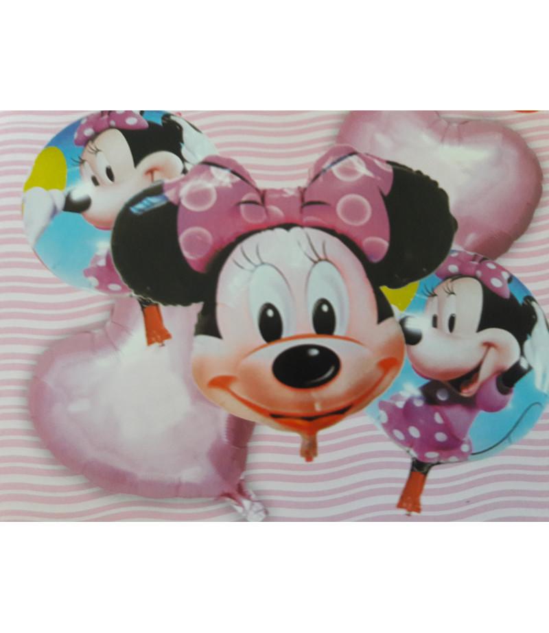 Minie Mouse Pembe Kalp  Desenli 5 Li Balon Seti Pembe