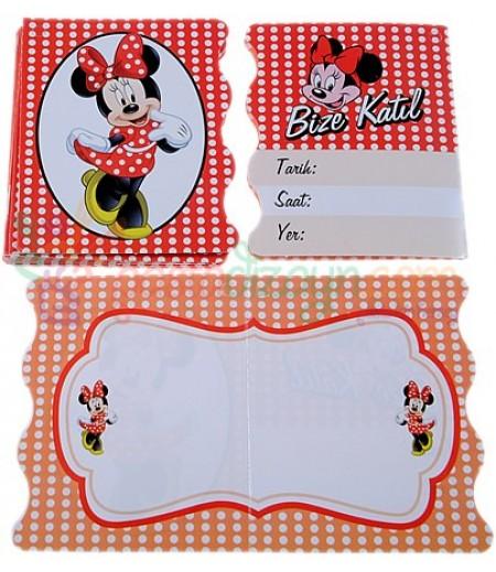Minnie Mouse Temalı Davetiyeler,10 Adet