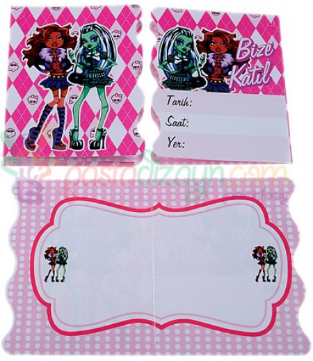 Monster High Temalı Davetiyeler,10 Adet