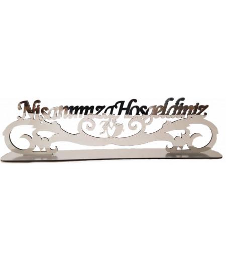 Nişanımıza Hoşgeldiniz Yazılı Pleksi Süsleme,Gümüş