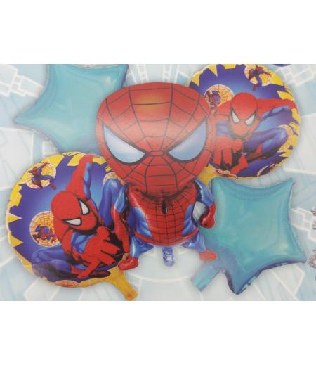 Örümcek Adam Mavi Yıldız Desenli 5 Li Balon Seti Kırmızı