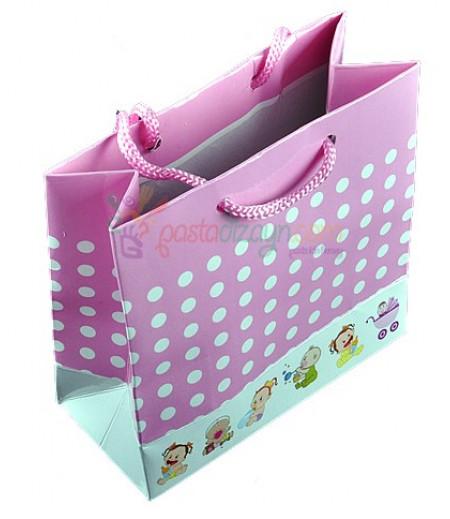 Pembe Bebek Figürlü Karton Çanta,8 Adet