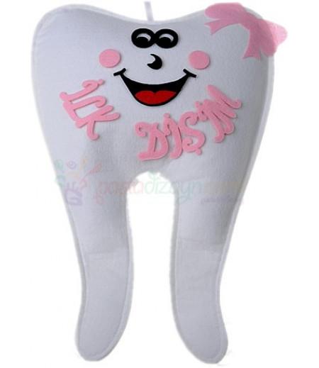 Pembe Keçe Diş Şeklinde Asma Süsleme