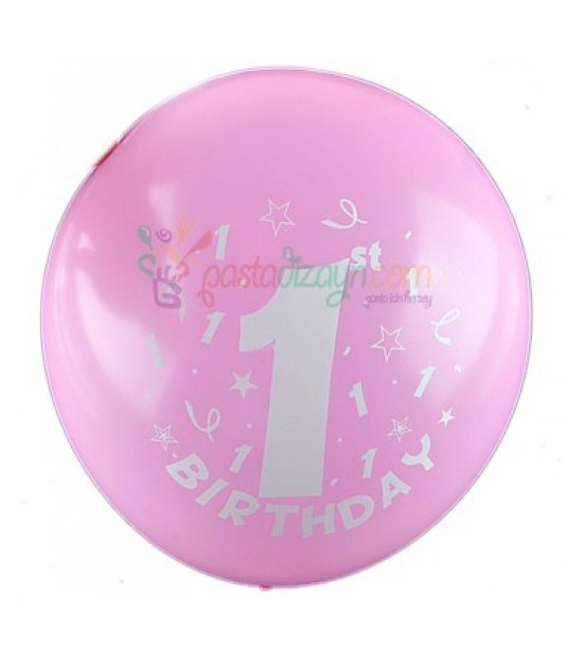1 Yaş Pembe Renk Balon Seti,12 Adet