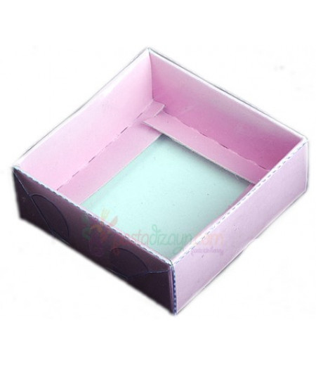 Pembe Renk Asetat Kutular,8x8x3cm,5 Adet
