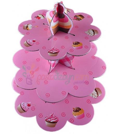 Pembe Renk Cupcake Temalı Kek Standı