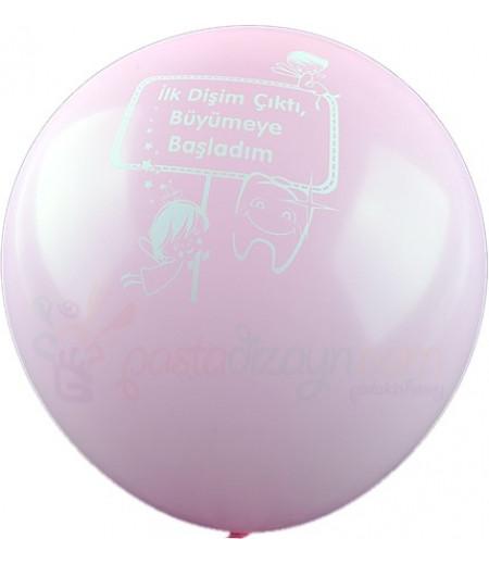 Pembe Renk Dişim Çıktı Balonlar,12 Adet
